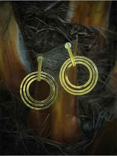 Natty Circular Daze Brass Plated 9 to 5 Western Earrings