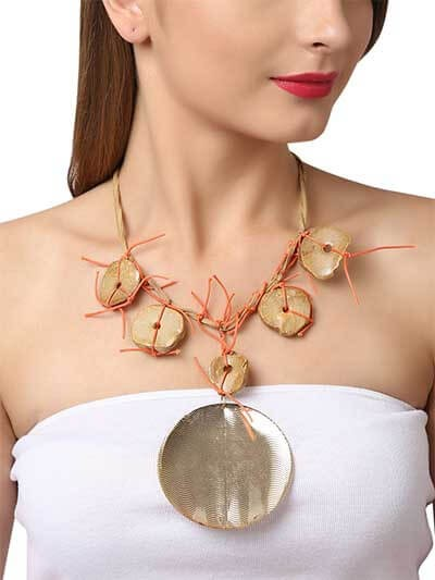Silver Ethnic Brass Statement Necklace