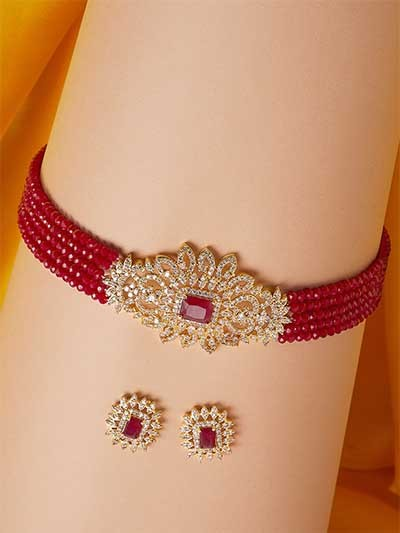 Gold-Plated & Maroon Stone-Studded Beaded Jewellery Set
