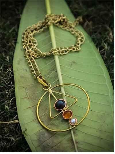 Designer Brass Pendant Necklace For Women