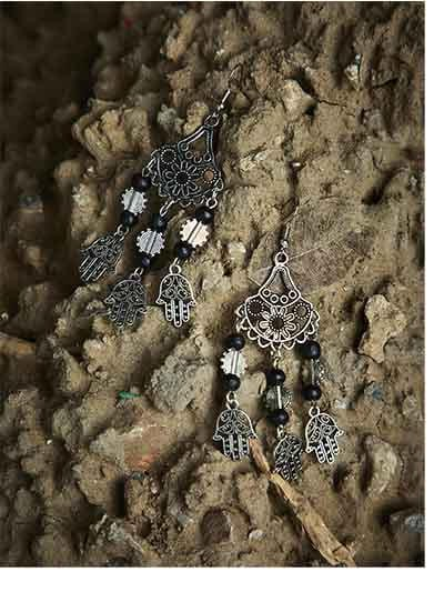 Black Beaded Tribal Jewellery Danglers With Pretty Hanging Trinkets