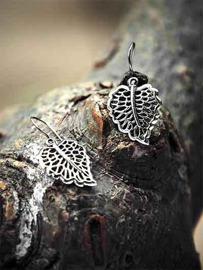 Oxidized Silver Leaf Earrings