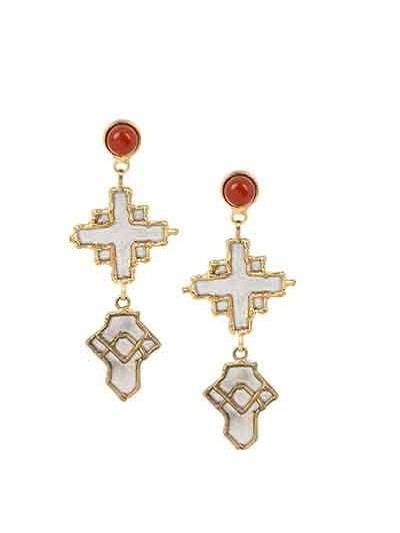 Cross Carnelian Handmade Jewellery Earrings