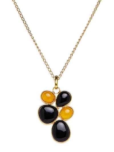 Larissca Lime Onyx and Black Onyx Designer Fashion Necklace
