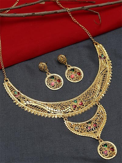 Layered Golden Necklace Set with Red and Green Stones