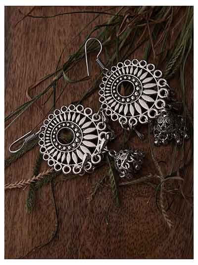 Floral Motifs Circular Design Oxidized Long Jhumki Earrings With Hangings Bells
