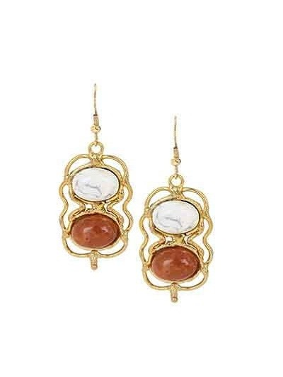 Dual White Red Ethnic Party Wear Earrings