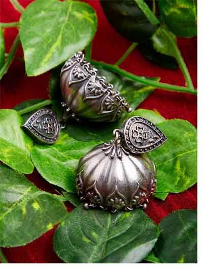 Vintage Temple Styled Tribal Jewellery Silver Plated Jhumkis