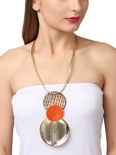 Copper & Brass Saffron pendant Party Statement Necklace