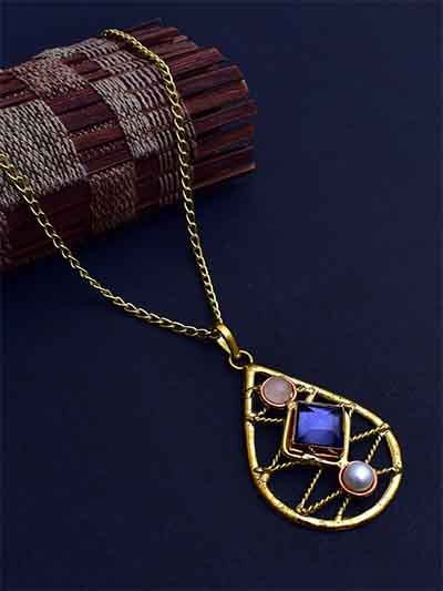 Designer Brass Necklace Studded With Semi Precious Gemstones