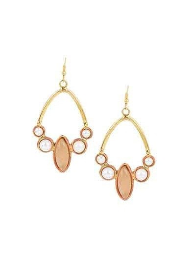 Rose Quartz Pearl Brass Party Wear Earrings