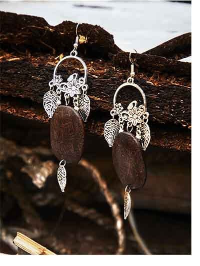 Wooden Tribal Jewellery Danglers With Hanging Flowers and Leaves