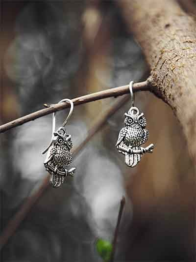 Classic Oxidized Sliver Owl Earrings