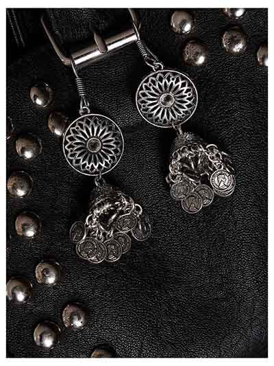 Floral Design Oxidized Silver Long Earrings With Hanging Coins
