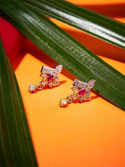 American Diamond Delicate Stud Earrings with Red Stone