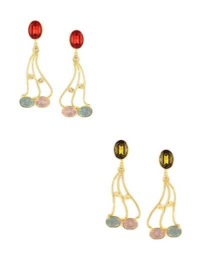Combo of Two Contemporary Golden Stone Dangler Earrings