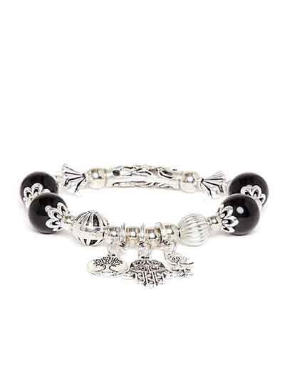 Black and Silver Owl Artificial Charm Bracelet