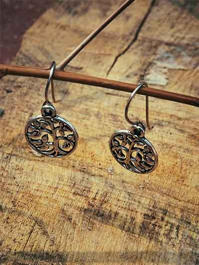 Oxidized Silver Tree Earrings