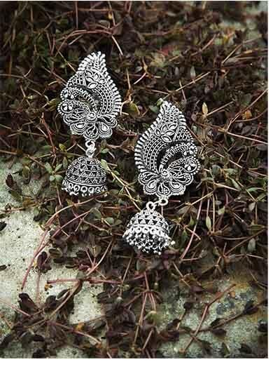 Floral Silver Tribal Jewellery Jhumki Earrings Cum Ear cuffs