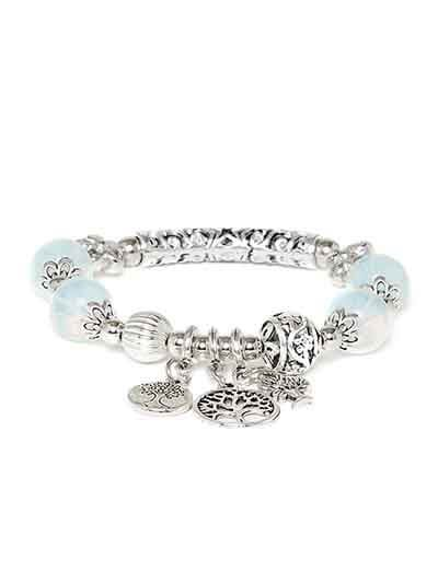 Sky Blue and Silver Tree Charm Bracelet