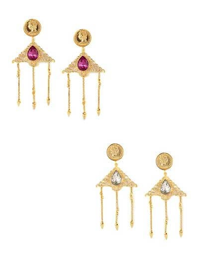 Combo of Pink and Blue Stone Golden Dangler Earrings