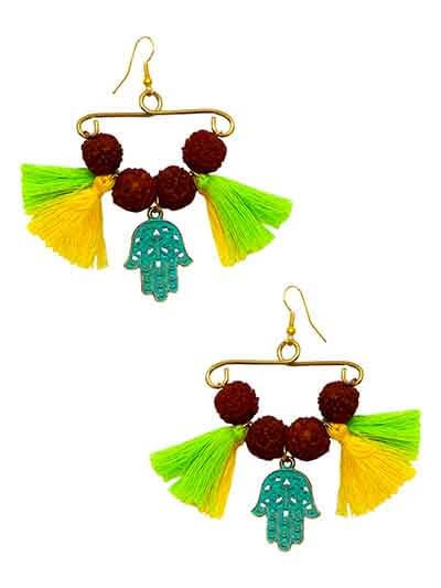 Pom Pom Rudraksha Charm Tassel Handmade Jewellery Earrings