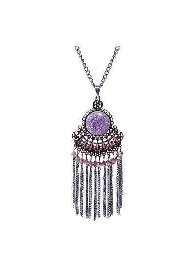 Studded Scarlet Tassel Fashion Necklace