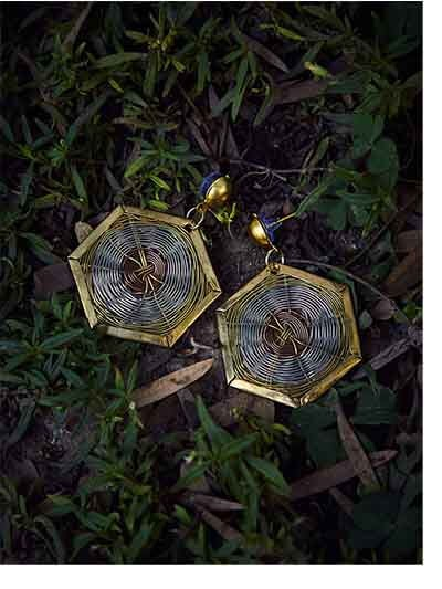 Geometrical Metal Earrings in Gold and Bronze Color