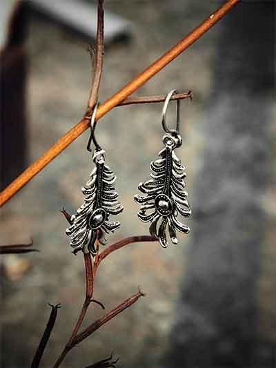 Oxidized Silver Leaves Earrings