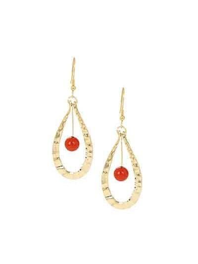 Carnelian Gold Drop Party Wear Earrings