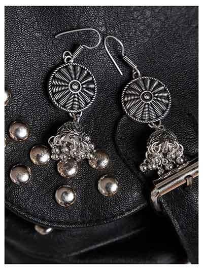 Patterned Oxidized Silver Long Jhumki Earrings