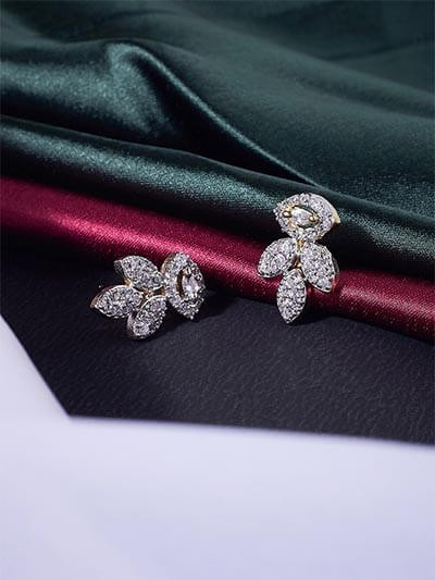American Diamond Leaf Earrings
