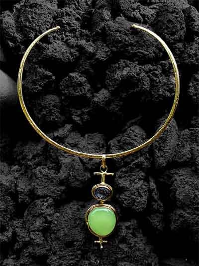 Designer Choker Studded With Onyx & Druzy Gemstones