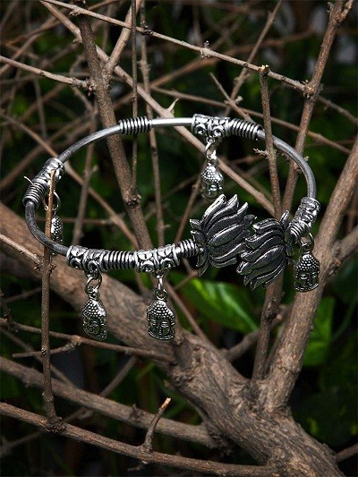 Deity Metallic Hangings Oxidized Tribal Jewellery Cuff Bracelet