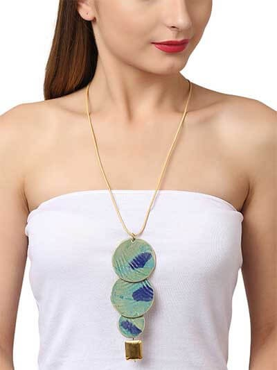 Sheer Glass Turquoise Trio Pendant Statement necklace