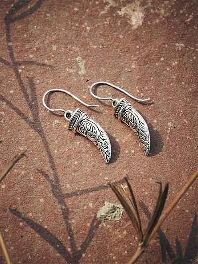 Oxidized Silver Sword Earrings