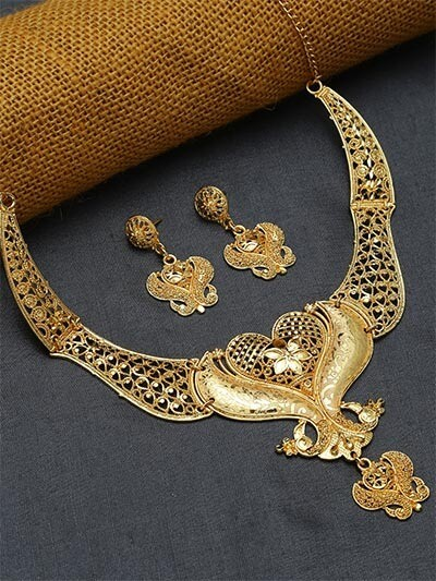 Golden Peacock Golden Necklace Set with Flower Motifs