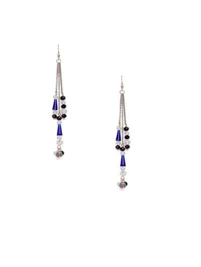 Black and Blue Crystal Long Handmade Western Earrings
