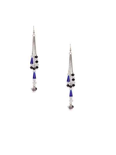 Black and Blue Crystal Long Handmade Western Earrings