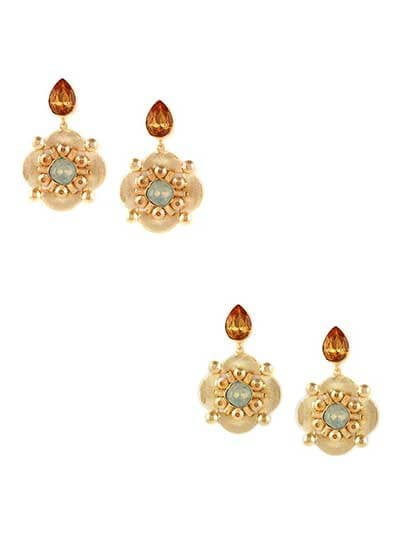 Combo of Two Golden Stud Stone Earrings