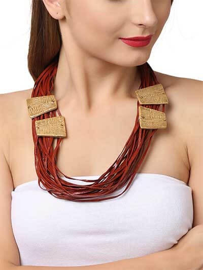 Blood Red Leather Statement Necklace
