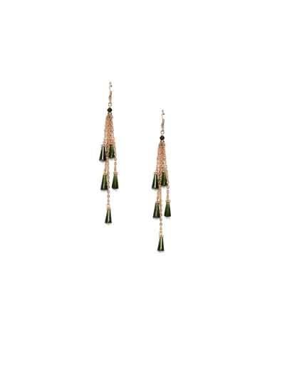 Suave Emerald Long Sleek Western Earrings