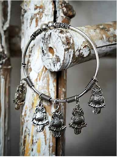 Hanging Metallic Owls Oxidized Tribal Jewellery Cuff Bracelet