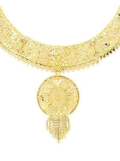 Golden Necklace Set Adorned with Floral Cutwork