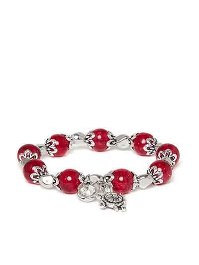 Red and Silver Tortoise Charm Bracelet