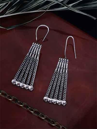 Patterned Oxidized Silver Dangler Earrings