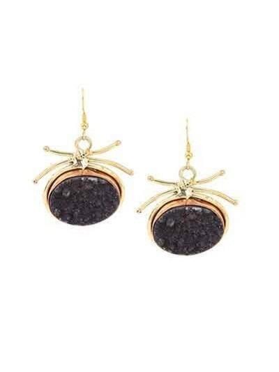 Circular Black Druzy Party Wear Earrings