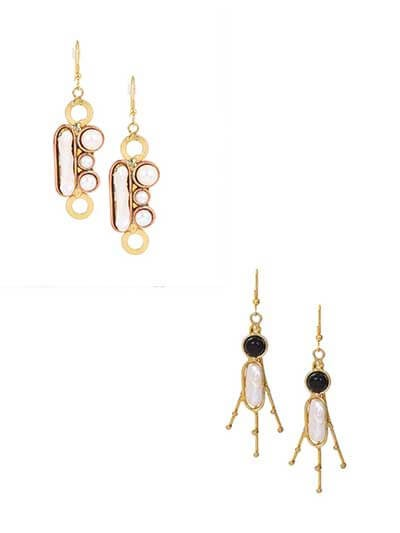 Combo of Two Brass Earrings Encrusted with Semi-Precious Gemstones