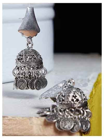 Bell Design Short Oxidized Silver Earrings With Hanging Coins and Intricate Details
