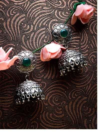 Emerald Colored Stone Embellished Tribal Jewellery Silver Plated Jhumkis